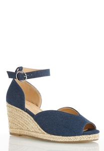 Wide Width Denim Roped Wedges