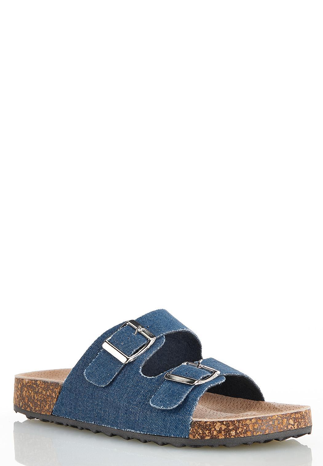 Double Buckle Denim Sandals