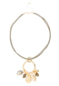 Hoop Charm Leather Band Necklace
