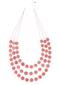 Dusty Rose Wood Disc Necklace