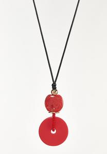 Red Pendant Cord Necklace