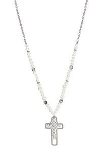 Pearl Cross Pendant Necklace