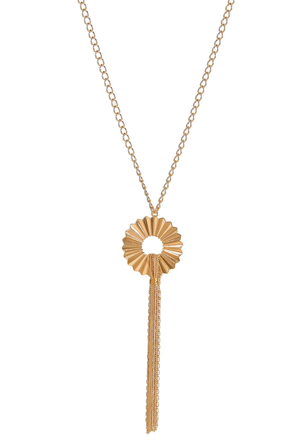 Crinkled Pendant Chain Necklace