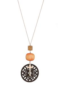 Wooden Medallion Cross Necklace