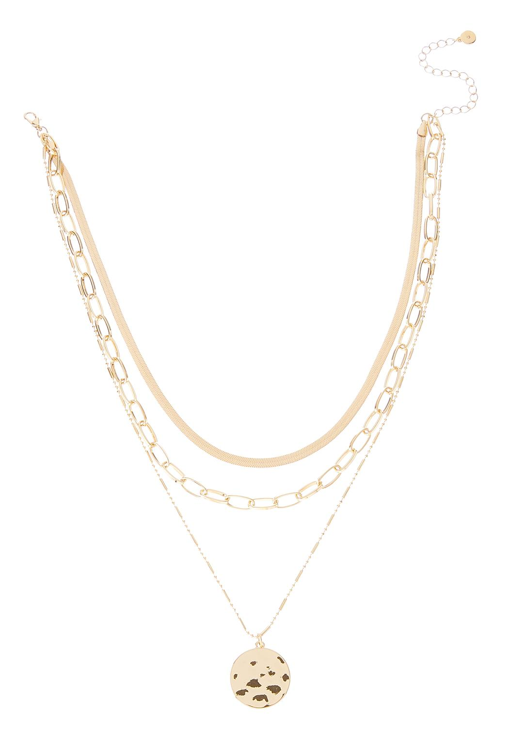 Layered Hammered Disc Necklace