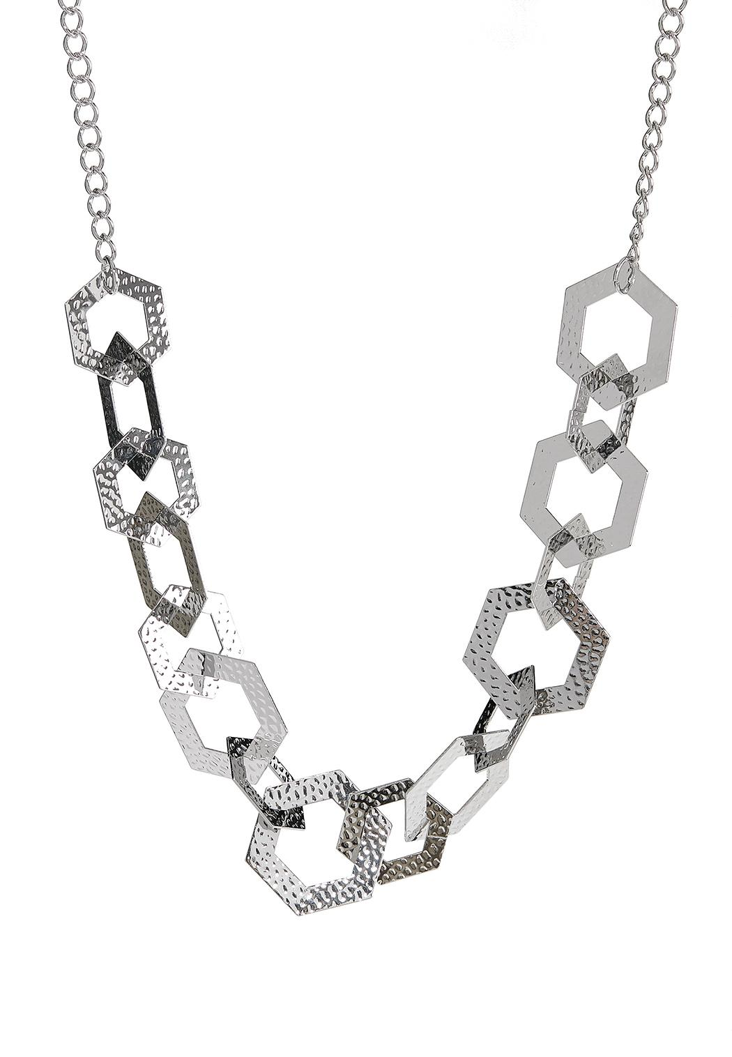 Hammered Hexagon Link Necklace