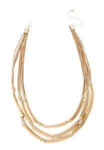 Layered Brushed Tubular Necklace