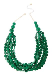 Layered Green Wood Disc Necklace