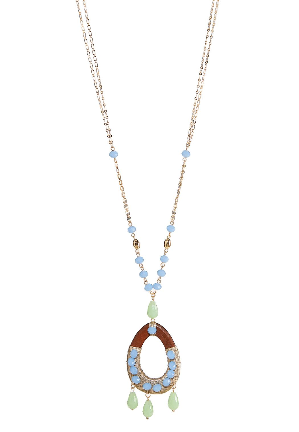 Extra Long Beaded Pendant Necklace