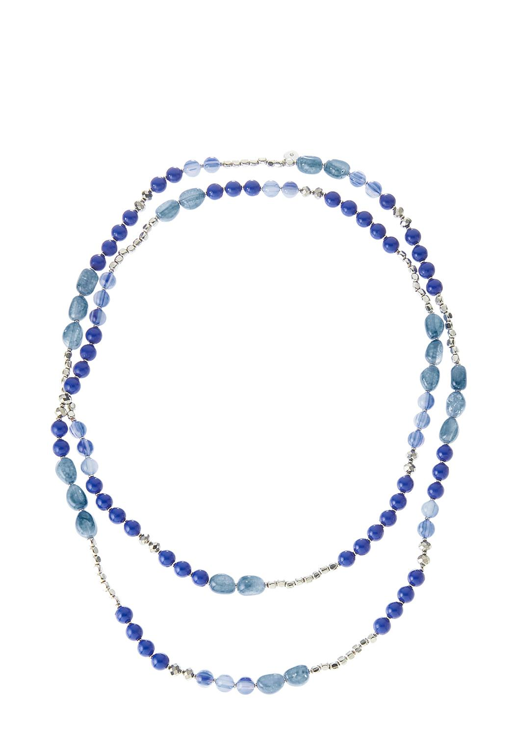 Layered Blue Bead Necklace