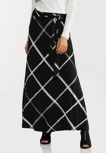 Brushed Windowpane Maxi Skirt