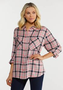 Plus Size Plaid Two Pocket Button Down Shirt