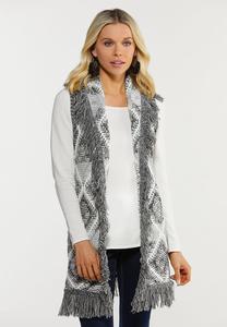 Plus Size Fringe Sweater Vest