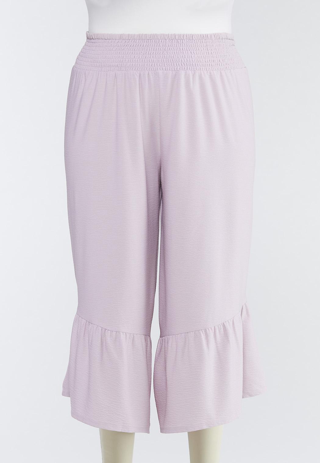 Plus Size Cropped Ruffled Pants
