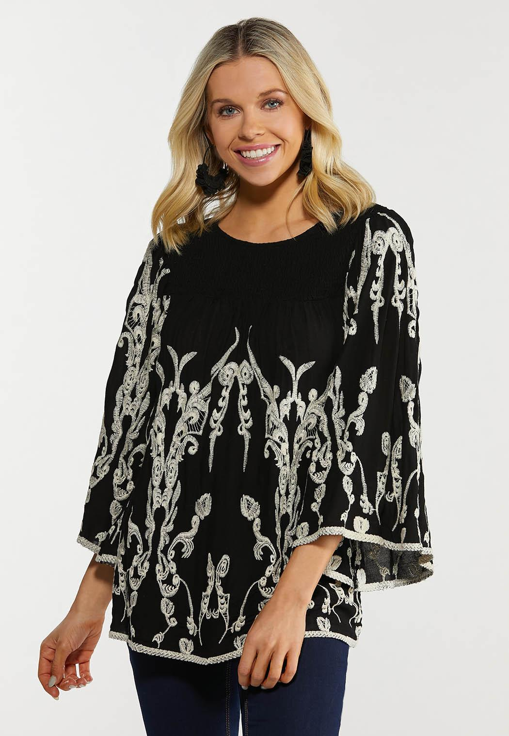 Smocked Embroidered Top