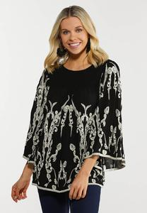 Plus Size Smocked Embroidered Top