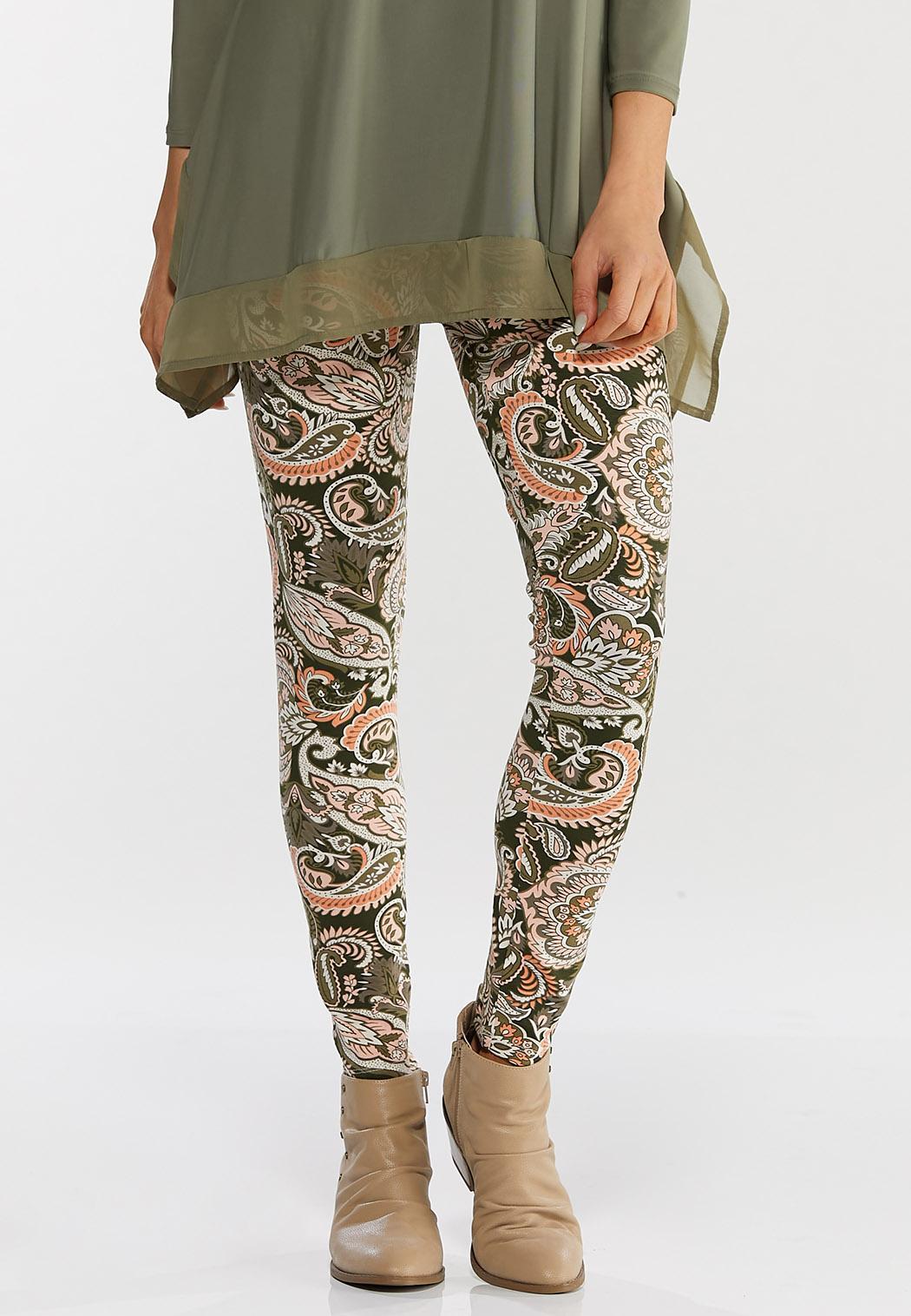Coral Paisley Leggings