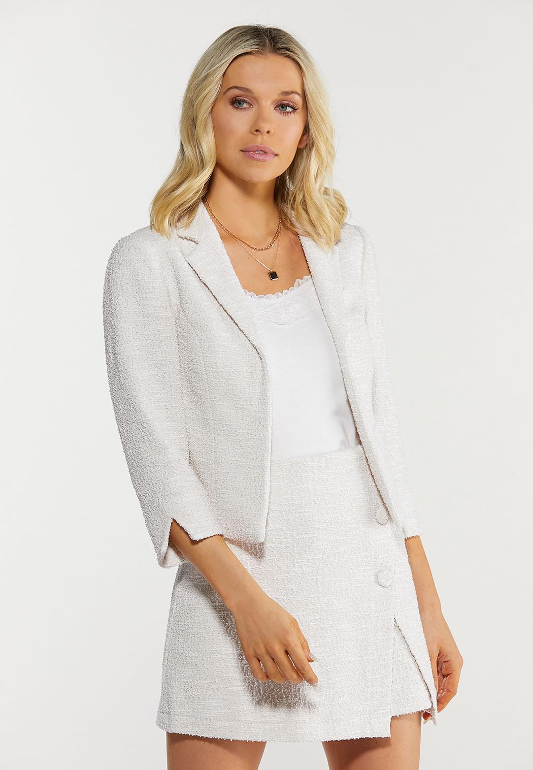 Plus Size Cropped Boucle Blazer