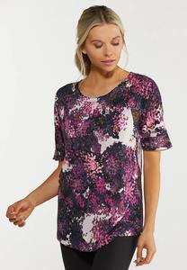 Plus Size Grape Floral Active Top