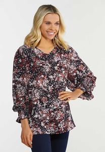 Plus Size Floral Smocked Sleeve Top