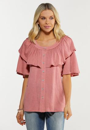 Solid Rose Ruffle Top