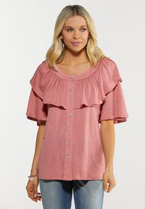 Plus Size Solid Rose Ruffle Top