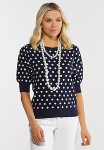 Navy Polka Dot Puff Sleeve Sweater