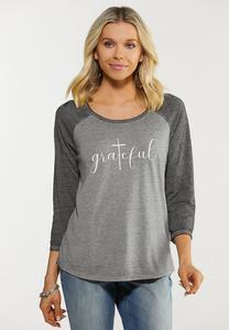 Plus Size Grateful Baseball Tee