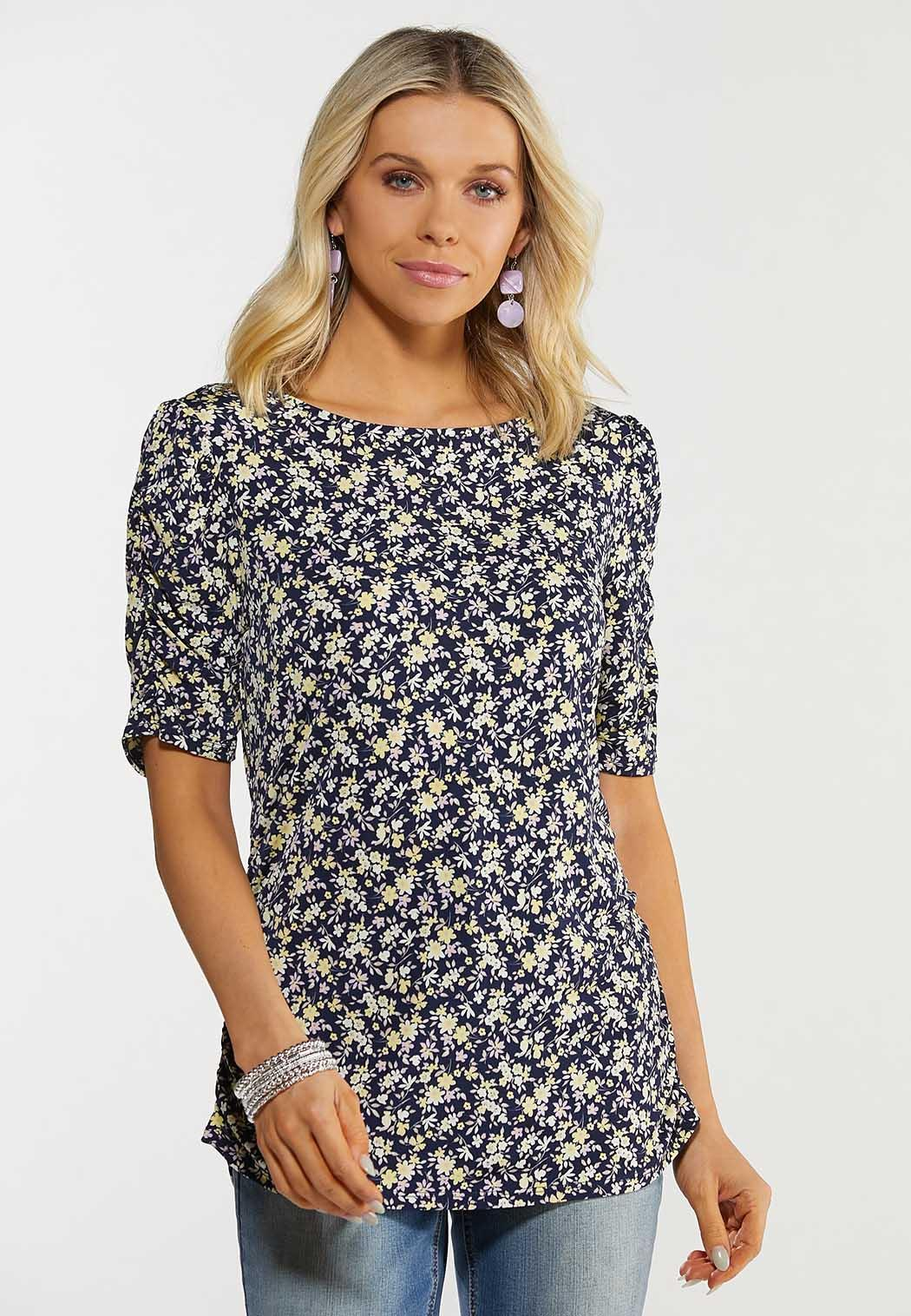 Navy Floral Puff Sleeve Top