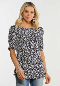 Plus Size Navy Floral Puff Sleeve Top