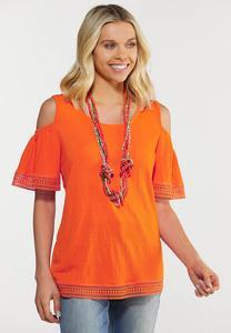 Plus Size Orange Lace Cold Shoulder Top