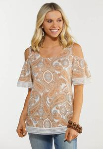 Plus Size Paisley Cold Shoulder Top