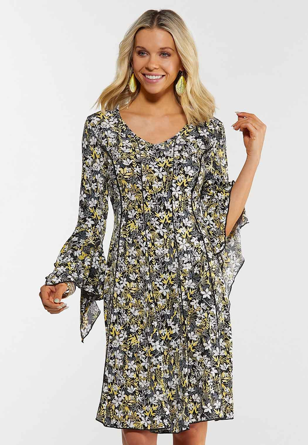 Floral Draped Sleeve Dress