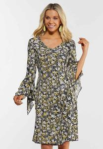 Plus Size Floral Draped Sleeve Dress