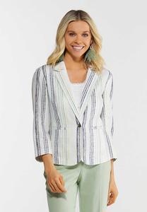 Muted Stripe Linen Blazer