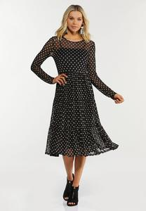 Plus Size Polka Dot Mesh Dress