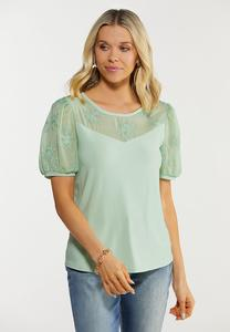 Plus Size Green Embroidered Puff Sleeve Top