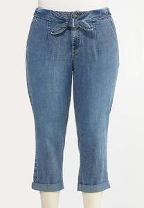 Plus Size Cropped Tie Waist Jeans