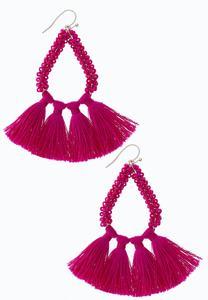 Fuchsia Bead Tassel Earrings