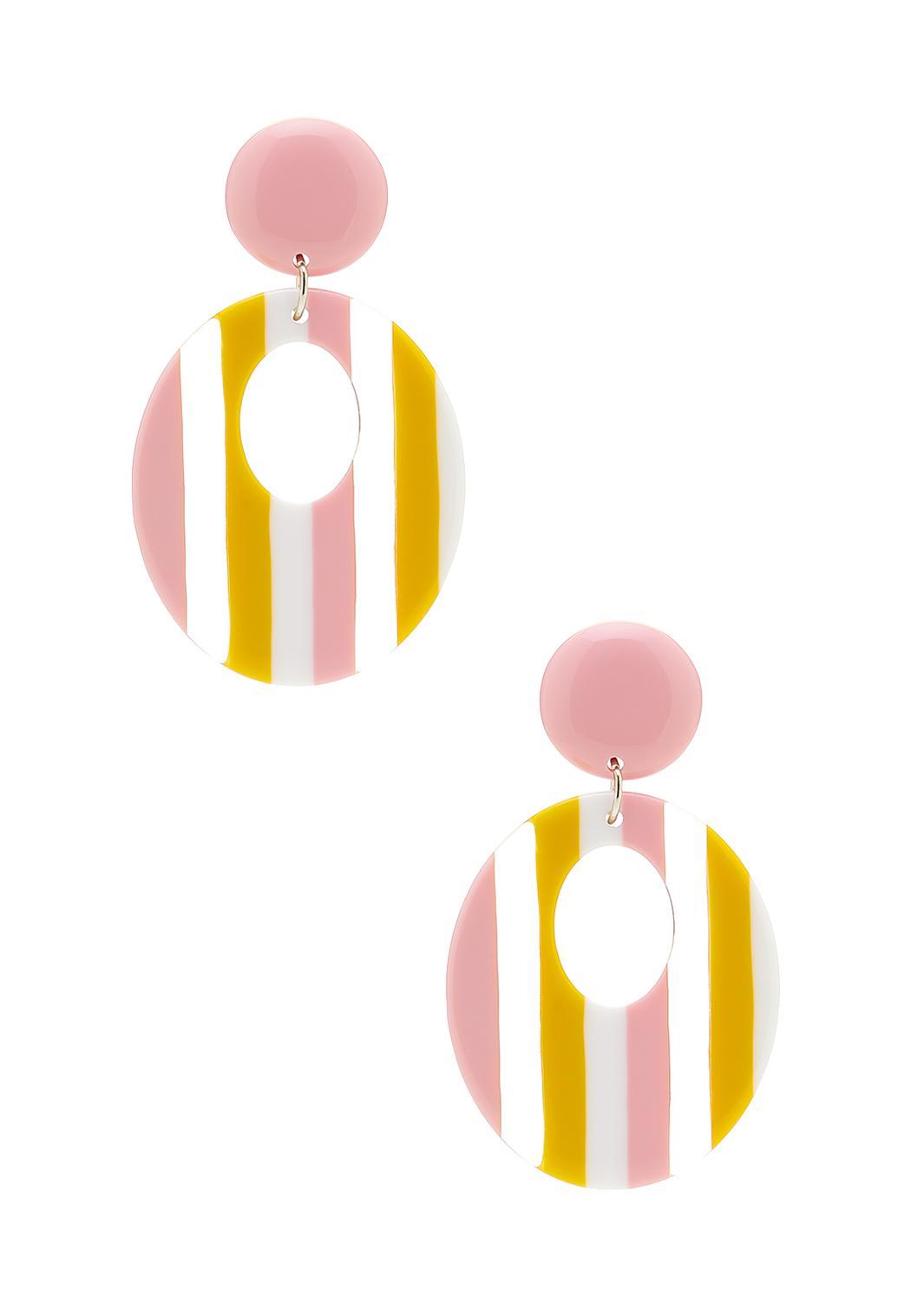 Lucite Stripe Cutout Earrings