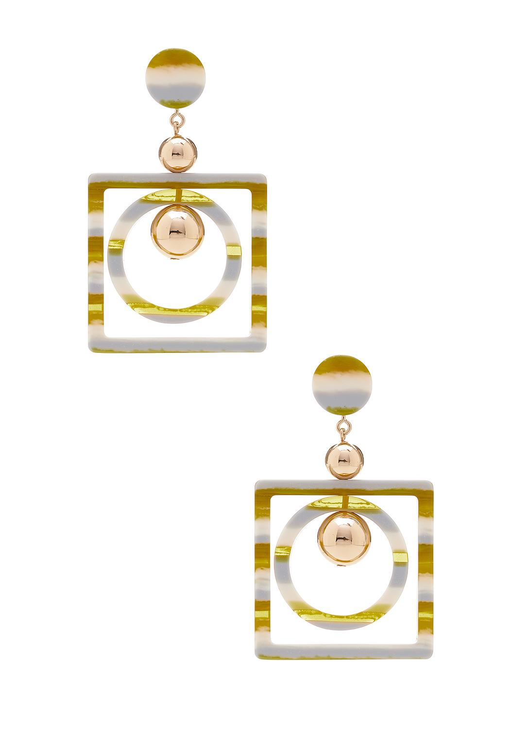 Circle In Square Lucite Earrings