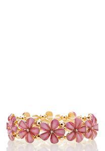 Pink Flower Stone Stretch Bracelet