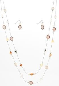 Beaded Illusion Necklace Earring Set