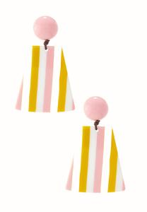 Striped Lucite Clip-On Earrings