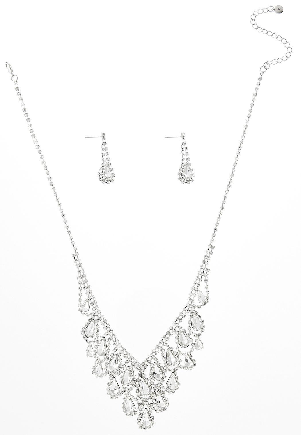 Tear Stone Bib Necklace Earring Set