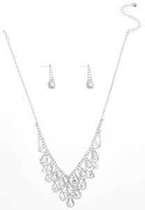 Tear Stone Bib Necklace Earring Set