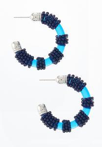 Blue Resin Bead Hoop Earrings