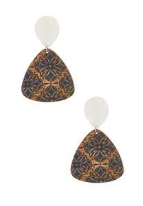Lucite Medallion Cork Earrings