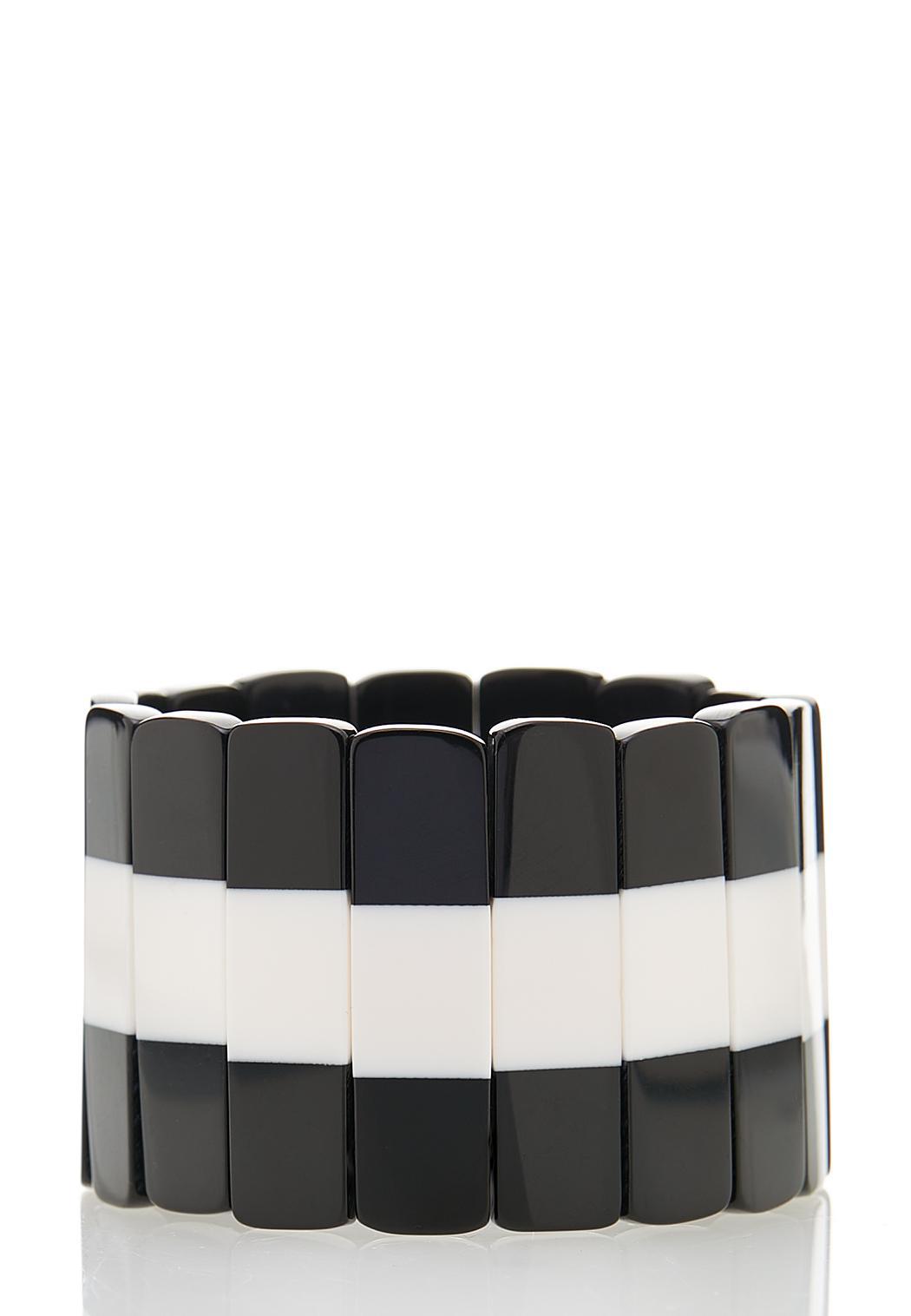 Black White Stretch Bracelet