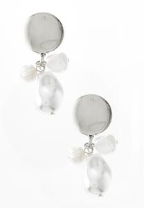 Silver Triple Pearl Clip-On Earrings